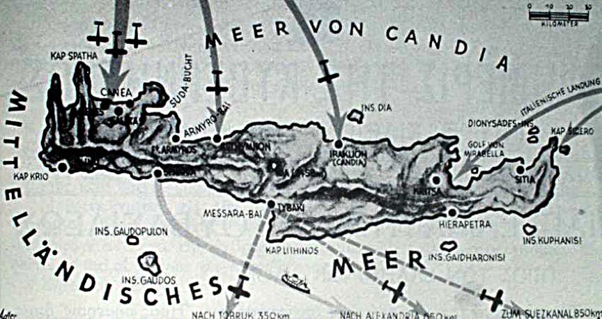 """Γερμανικός επιτελικός χάρτης με τα σημεία πτώσης των Γερμανών αλεξιπτωτιστών στην Κρήτη, """"Επιχείρηση ΕΡΜΗΣ"""" (Unternehmen Merkur)."""