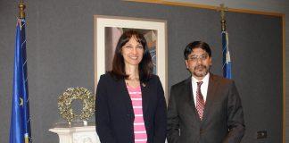 Η Αν. Υπουργός Οικονομίας Ανάπτυξης και Τουρισμού κα Έλενα Κουντουρά με τον πρέσβη του Μπαγκλαντές στην Ελλάδα κ. Jashim Uddin
