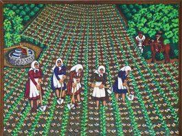 Έλληνες ναΐφ ζωγράφοι Θεοφίλης Γιάννης, Το ξελάκωμα, λάδι σε ξύλο