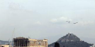 Πτήσεις μαχητικών αεροσκαφών πάνω από την Ακρόπολη