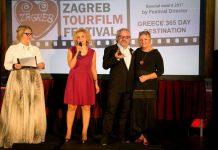 Η κα Σοφία Λαζαρίδου, επικεφαλής του Γραφείου ΕΟΤ Σερβίας, ο σκηνοθέτης κ. Αντώνης Θεοχάρης Κιούκας και η Διευθύντρια του Φεστιβάλ τουριστικών ταινιών Ζάγκρεμπ κα Spomenka Saraga.