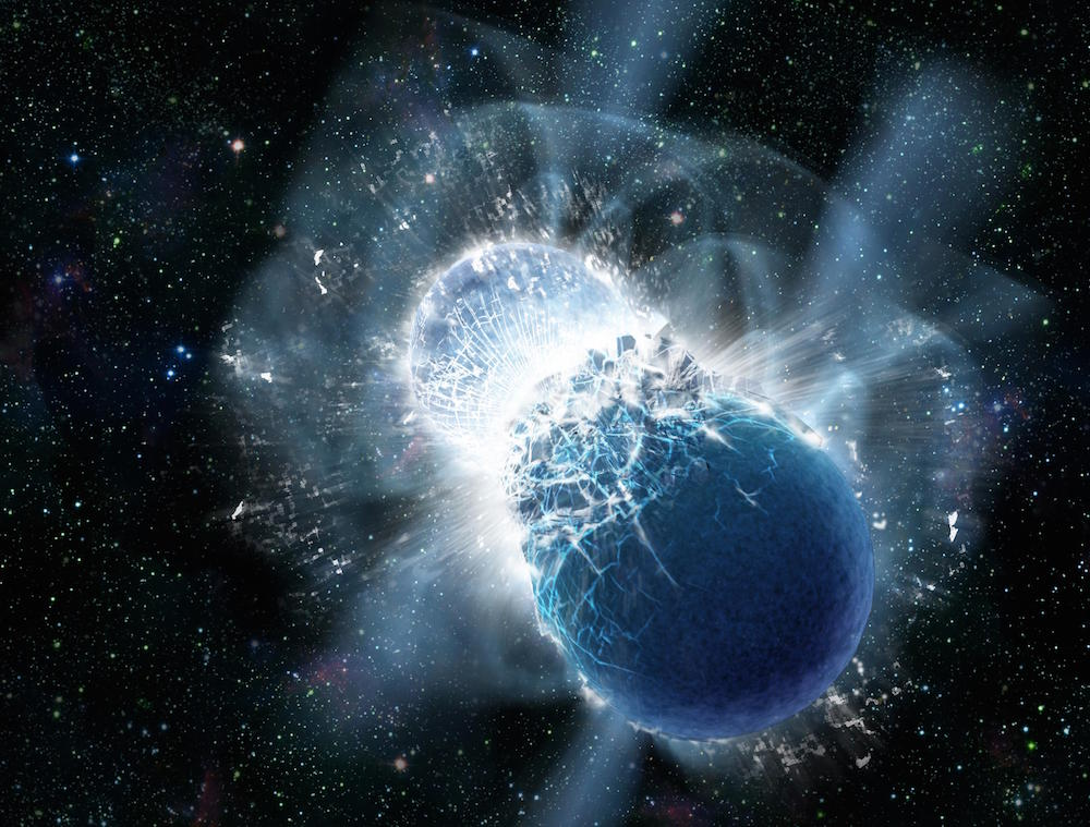 Καλλιτεχνική απεικόνιση της συγχώνευσης ενός ζεύγους αστέρων νετρονίων. (Harvard/CFA). Πηγή: https://www.cfa.harvard.edu/news/2013-19