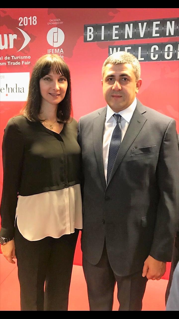 Η Υπουργός Τουρισμού Έλενα Κουντουρά  με το νέο Γενικό Γραμματέα του Παγκόσμιου Οργανισμού Τουρισμού UNWTO κ. Zurab Pololikashvili στο πλαίσιο της τουριστικής έκθεσης FITUR στη Μαδρίτη