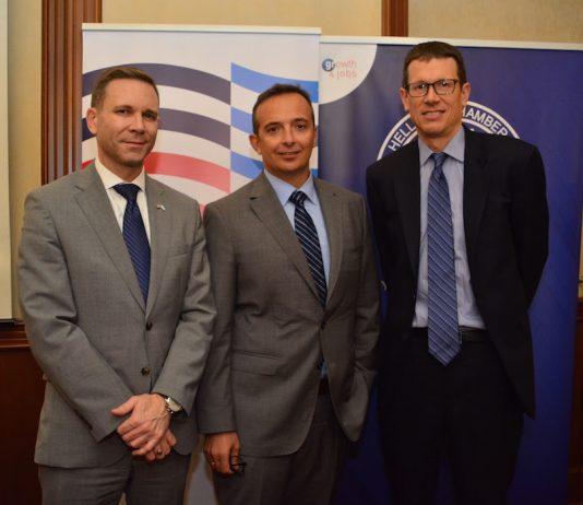 Gregory W. Pfleger, Jr., Γενικός Πρόξενος των Η.Π.Α. στη Θεσσαλονίκη, ο Chip Laitinen, Οικονομικός Ακόλουθος της Πρεσβείας των Η.Π.Α. στην Αθήνα, ο Αλέξανδρος Κωστόπουλος,