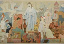 Ο Κεραμεικός της Αθήνας. Τοιχογραφία του Α. Κοντόπουλου, 1960, στην αίθουσα του βωμού του Εθνικού Αρχαιολογικού Μουσείου (Φωτογράφία: Ε. Γαλανόπουλος © Εθνικό Αρχαιολογικό Μουσείο/ TAΠΑ).
