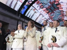 2 March 2019 MSC Bellissima Naming Ceremony - Pierfrancesco Vago, MSC Cruises Executive, Captain Raffaele Pontecorvo and Godmother Sophia Loren